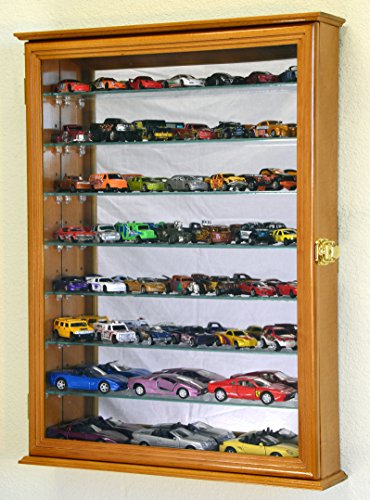 7 Adjustable Shelves Mirrored Hot Wheels / Matchbox / Diecast Cars / 1/64 1/43 Model Display Case Cabinet, Oak