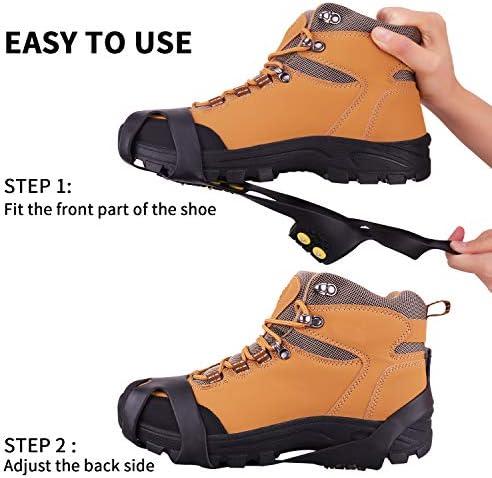 Fesoar Crampones,Racos de Hielo Tracción Antideslizante Más de Zapatos/para 15 Tacos Nieve Hielo Grips Crampones Tacos Picos