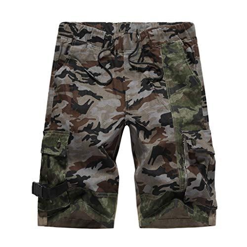 TANGSen Men's Summer Fashion Casual Loose Camouflage Printing Pocket Patchwork Sport Shorts Drawstring Pants