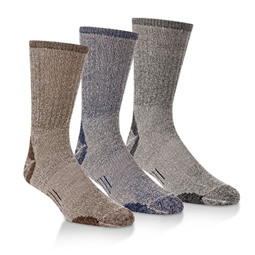 (Omni-Wool 3 Pairs Merino Wool Light Hiker Socks (Large, 3 Pair Variety Bundle) )