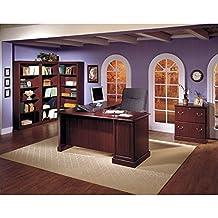 Bush Saratoga L-Shape Wood Executive Desk in Harvest Cherry