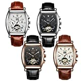 Gets Men Dress Mechanical Watch Leather Strap Square Face Skeleton Watch Classic Automatic Watches