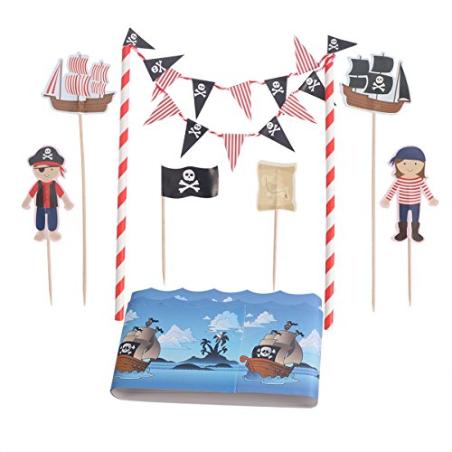 - Tinksky Cartoon Birthday Cake Garland Bunting Flag Topper Wraper Sets Decorating Kits Baby Boy Shower Pirate Party Favors Decorations Supplies for Kids Birthday