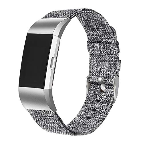bayite Canvas Bands Compatible Fitbit Charge 2, Soft Classic Replacement Wristband Straps Women Men, Charcoal Small