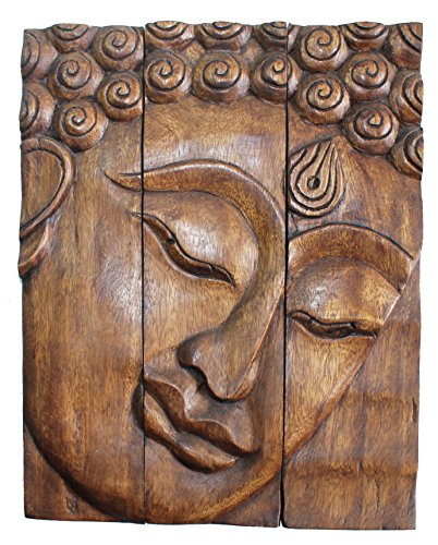 Hand carved wooden thai buddha face wall art plaque