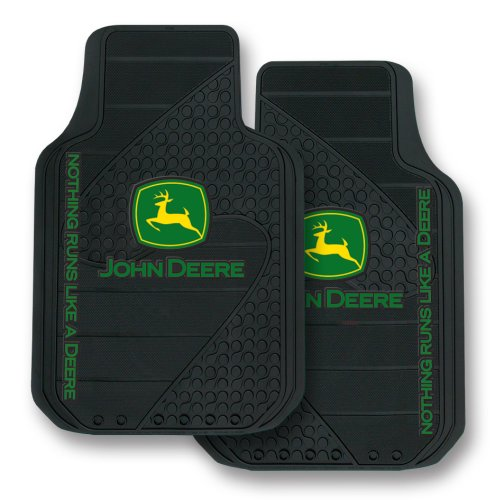 Plasticolor John Deere Factory Style Logo Trim-To-Fit Molded Passenger/Driver Front Floor Mats - Set of 2