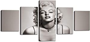 Marilyn Monroe Posters Black and White Marilyn Monroe Wall Art Canvas Painting 5 Panels Vintage Dream Monroe Pictures Prints Artwork for Living Room Bedroom Home Wall Decorations Framed (50''Wx24''H)