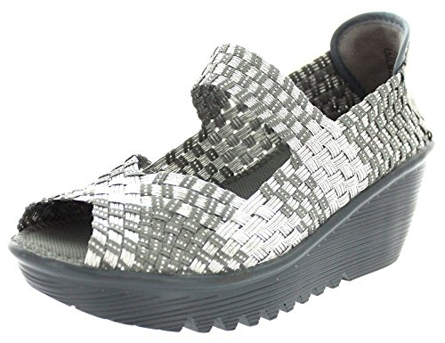 Bernie Mev Womens Halle Wedge Silver Gray Size 38