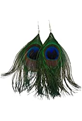niceEshop Women Fashion Boho Style Rhinestone Long Natural Peacock Feather Drop Earrings (Blue)