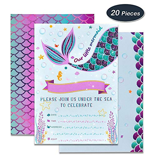 WERNNSAI Mermaid Party Invitations - 20 Set Magical Glitter Fill in Mermaid Invitations with Envelopes for Kids Girls Birthday Baby Shower Wedding Pool Mermaid Themed Party Supplies - Perfect Party Picture Invitations