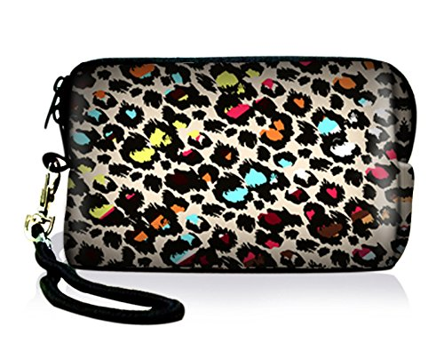 New Arrival Colorful Leopard Neoprene Case Bag Pouch For Digital Camera Cell Phone Ipod touch Iphone For Nikon Coolpix S8100 S8200 S9100 S9300 P310 P300 AW100,Iphone 3 4 5,Itouch 5 ()