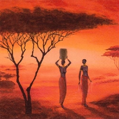 4 x Paper Napkins - African Sunset - Ideal For Decoupage / Napkin Art Ti-Flair
