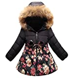 Big Girl's Elegant Hooded Winter Jacket Coat Thickened Long Down Jacket