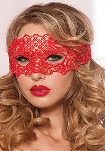 (Queen Style) Lace Mask Black Elastic,Lace Masquerade Mask,Fit for Adult,Soft Gentle Material/Children (Black) (Mysterious Super Star Red)]()