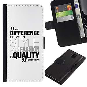 """Samsung Galaxy Note 3 III N9000 N9002 N9005 , la tarjeta de Crédito Slots PU Funda de cuero Monedero caso cubierta de piel ("""" Differenece Style Fashion Quality Quote Armani"""")"""