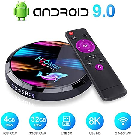 Android 9.0 TV Box, Smart TV Box 4GB RAM / 32GB ROM Amlogic S905X Quad Core Soporte 2.4Ghz / 5.0Ghz WiFi 8K HDMI Bluetooth 4.0 TV Box: Amazon.es: Hogar
