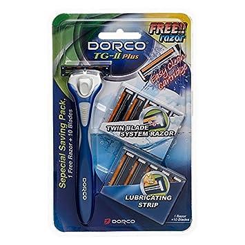 Dorco TG-II Plus Razor Shaving System 11 Cartridges + 1 Handle Shaver for Men & Women Value Pack