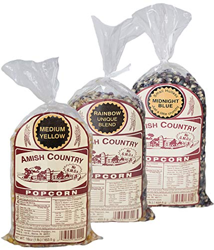 Amish Country Popcorn - 3 (1 lb. Bag Gift Set) Midnight Blue, Rainbow, and Medium Yellow Popcorn - Old Fashioned, Non GMO, and Gluten Free - Recipe Guide