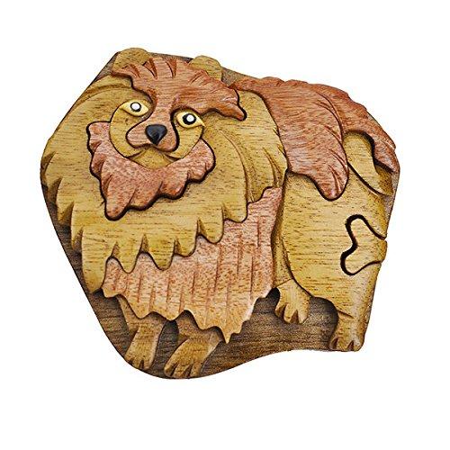 Handmade Wooden Art Intarsia TRICK SECRET Pomeranian Puzzle Trinket Box (3309) (g2)