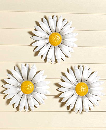 The Lakeside Collection Set of 3 Wall Daisies (Wall For Flowers Metal)