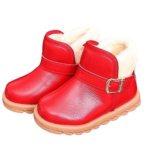 YaoDgFa Stiefel Schuhe Schnee Baby Mädchen Jungen Winterstiefel Winterschuhe Schneestiefel Stiefeletten Warme Kinder Kleinkindschuhe Fell Boots gefüttert Schlupfstiefel Winter Rot