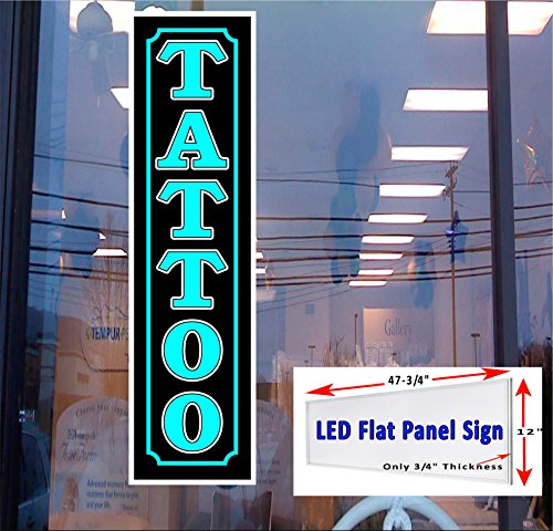 - LED Light box Sign TATTOO blue vertical 48