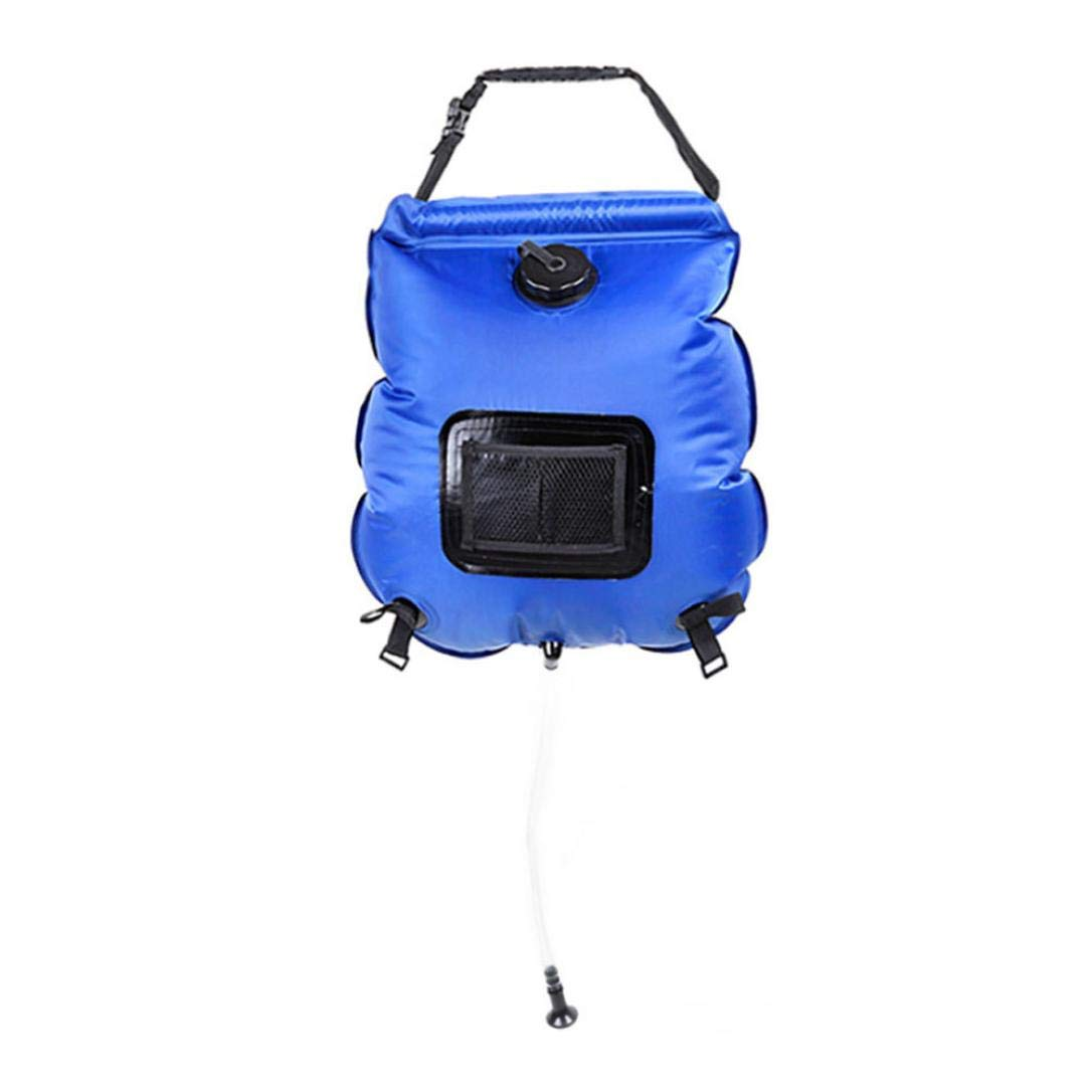 Solar Shower Bag 5 Gallons/20L Portable Solar Heated Shower Water Bathing Bag for Camping Hiking Traveling Summer Shower with Hose (Blue)