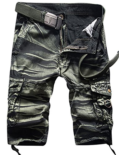 Menschwear Herren Vintage Cargo Shorts Bermuda Kurze Hose Sommer Kurze Hose (34,camouflage 5)