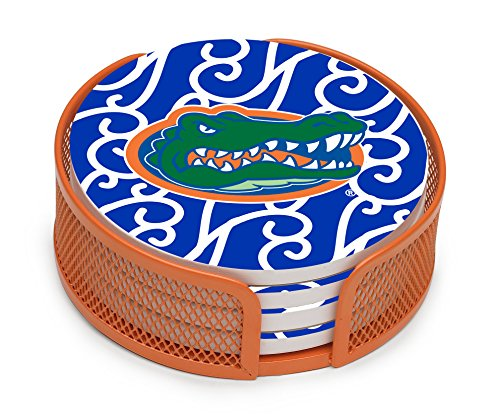 Swirl Drink Coasters (Thirstystone VUFL3-HA25 Stoneware Drink Coaster Set with Holder, University of Florida Swirls)