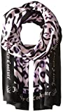 Juicy Couture Black Label Women's Novelty Imperial Leopard Printed Scarf with Juicy Logo Around The Trim, Lavender Fog/Imperial Leopard, One Size