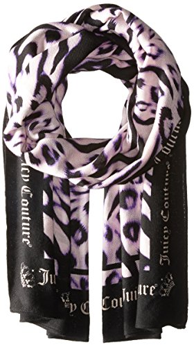 Juicy Couture Black Label Women's Novelty Imperial Leopard Printed Scarf with Juicy Logo Around The Trim, Lavender Fog, One Size - Scarf Juicy