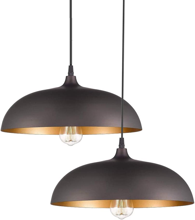 Industrial Metal Pendant Lighting, Edison Hanging Light Fixture, Black Pendant Light for Kitchen Barn Restaurants Hotels and Shops,2-Pack 15.7in