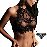 Women's Sexy Bras Lace Floral Sheer Halter Lingerie Push Up See Through Tops Underwear Nightwear(Black,Large)