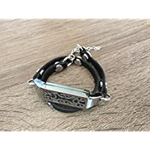 Handmade Double Wrap Black Leather Bracelet For Fitbit Flex 2 Tracker Adjustable Strap With Silver Metal Jewelry Housing Fitbit Flex 2 Replacement Band With Silver Rivets