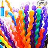 Andenley Balloon Twisting -200 Pack Balloon Animals Latex Modeling Long Balloons With A Pump For Animal Shape Weddings, Birthdays Clowns, Party Decorations