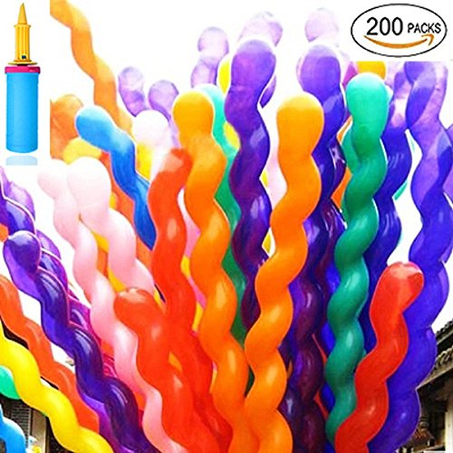 Andenley Balloon Twisting -200 Pack Balloon Animals Latex Modeling Long Balloons With A Pump For Animal Shape Weddings, Birthdays Clowns, Party Decorations by Andenley