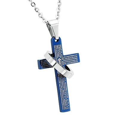 Daesar Joyería Collar Acero Inoxidable Cruz con Círculo Azul ...