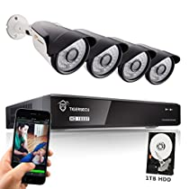 TIGERSECU Full HD 1080P 4-Channel Video Security Camera DVR System, 1TB Hard Drive - Four 2.0mp Outdoor Bullet Cameras, 65ft Night Vision