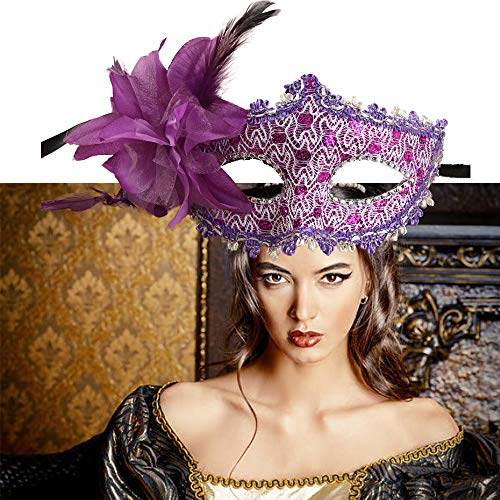 Shiny Masquerade Mask Women Venetian Pretty Party Evening Prom Mask for Masquerade Party Cosplay(Purple) ()