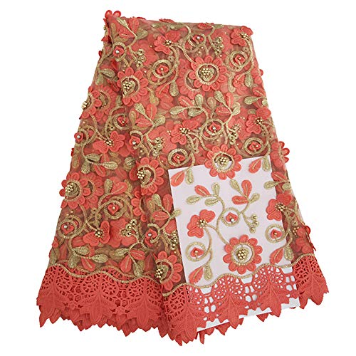 Milylace 5 Yards African Lace Fabrics with Beads French Nigerian Floral Embroidery Mesh Lace Tulle Lace (Peach)