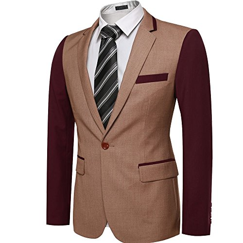 Men Nocth Lapel Long Sleeve Button Closure Casual Blazers X-Large (Button Closure Blazer)