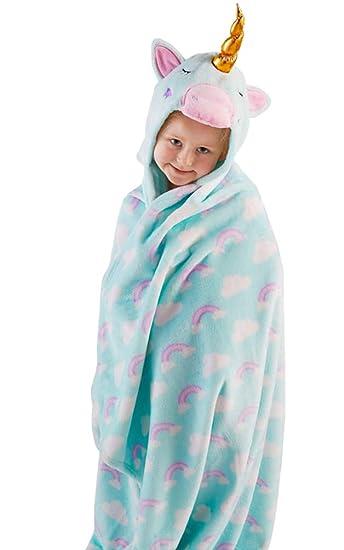 Amazon.com  Snuggle Up Girls Unicorn Hooded Supersoft Fleece Blanket ... c1c43c974