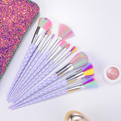 Unicorn Makeup Brushes Set Make up Brushes Professional Foundation Powder Eyeshadow Blending Concealer Cosmetics Tools Brushes Kit with Case (10 Pcs)