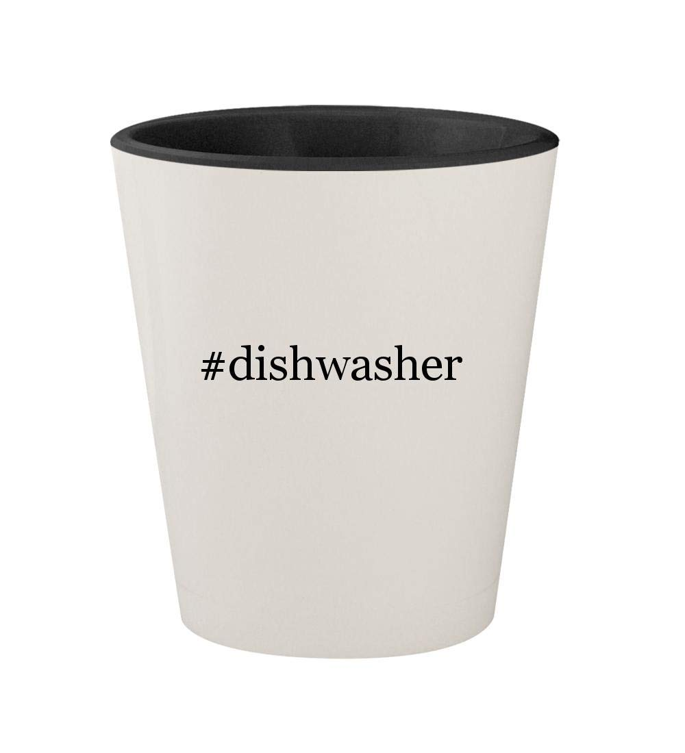#dishwasher - Ceramic Hashtag White Outer & Black Inner 1.5oz Shot Glass