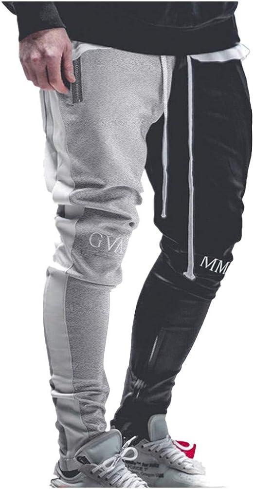 Fieer Mens Elastic Waist Splicing Pocket Striped Zipper Jogger Pants