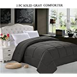 Super Soft Goose Down 1pc SOLID Alternative Comforter - All Sizes and Many Colors Available , QUEEN, Gray
