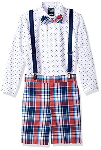 Izod boys 4-Piece Suspender Set with Dress Shirt, Bow Tie, Shorts, and Suspenders, Bubble Gum dot, - Gum Bubble Dot