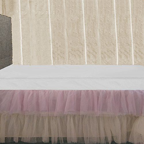 - Queen size 16 inch drop Ruffle Pink Cream Tulle Bed Skirt