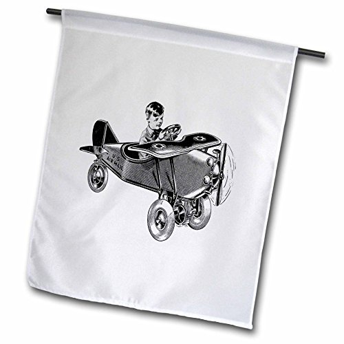 Florene Retro - Image of Retro Toy Air Mail Plane with Little Boy - 12 x 18 inch Garden Flag (fl_245227_1)