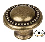 GlideRite Hardware 5222-AB-10 Round Beaded Cabinet Knob, 10 Pack, 1.25'', Antique Brass